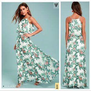 Lulu's 2 Evadne Tropical Print 2 Piece Maxi Dress